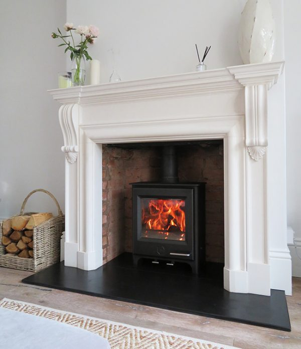 Woodwarm Firegem multifuel stove into existing fireplace in Wishaw
